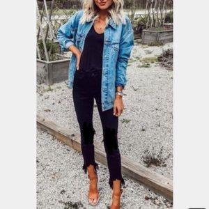 Express distressed high rise black skinny jeans 4